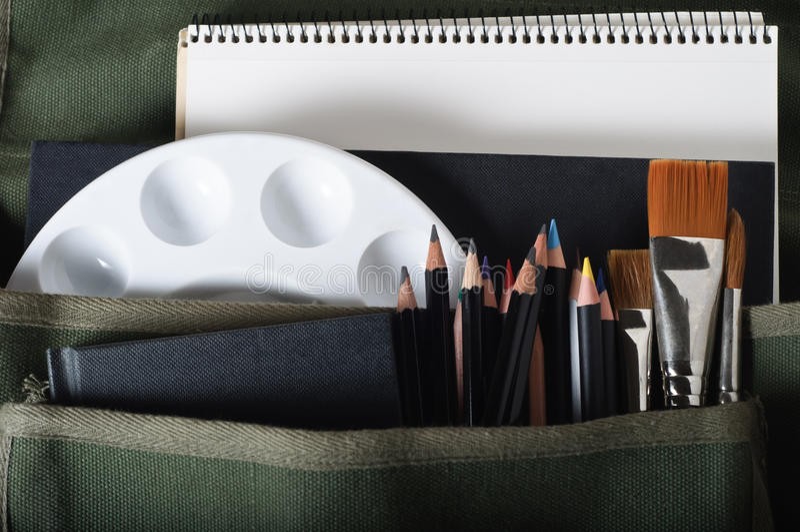 Download Satchel of Art Materials stock photo. Image of sketchbooks - 20229284
