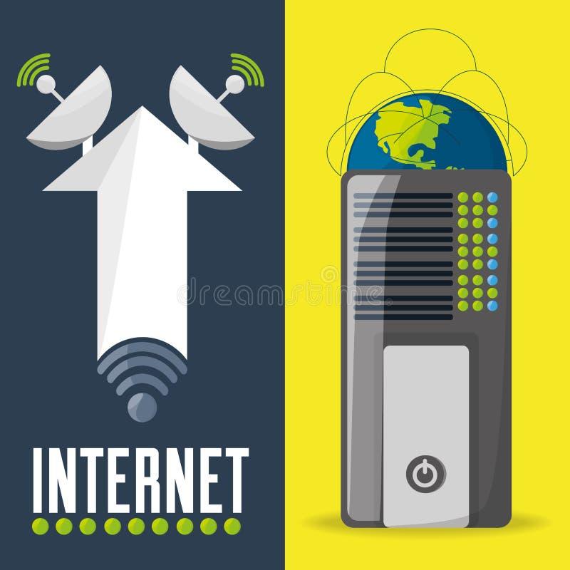Satelita i router odnosić sie z internet łączliwością ilustracja wektor