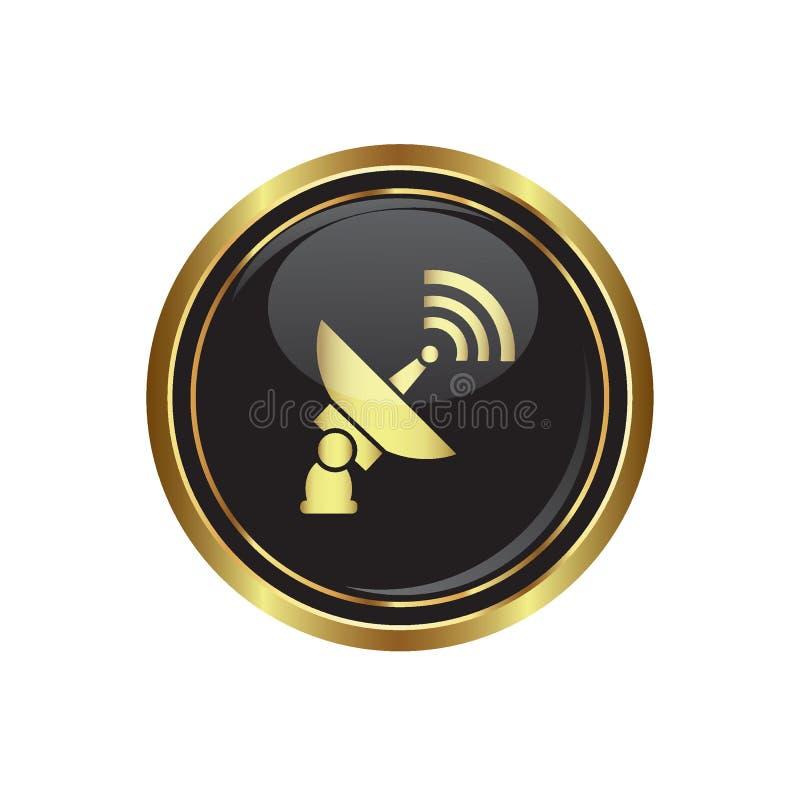 Satelitarna ikona na czerni z złocistym round guzikiem ilustracja wektor