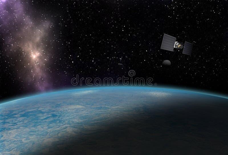 Satelitarna latająca pobliska błękitna planeta w kosmosie z gwiazdami ilustracja wektor