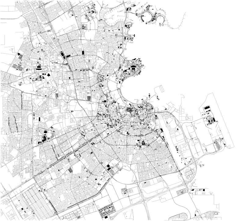 Satelitarna mapa Doha, Katar Mapa ulicy i budynki centrum miasta ilustracji