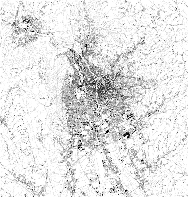 Satelitarna mapa Graz Austria Mapa ulicy i budynki centrum miasta europejczycy ilustracja wektor