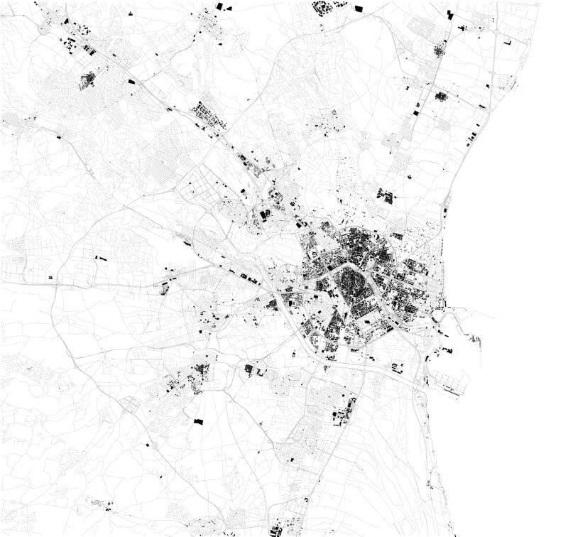 Satelitarna mapa Walencja, Hiszpania Mapa ulicy i budynki centrum miasta royalty ilustracja