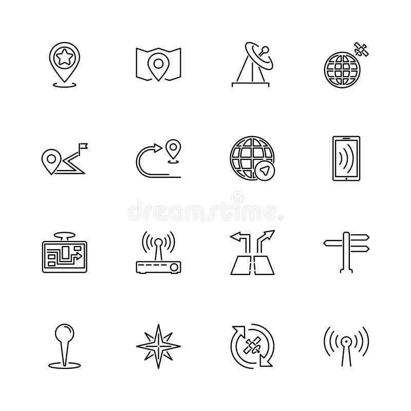 Satelitarna nawigacja, GPS - P?askie wektor linii ikony royalty ilustracja