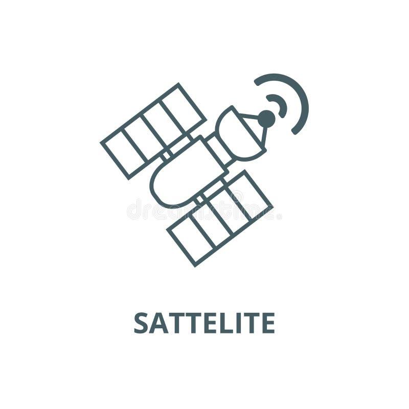 Satelitarna wektor linii ikona, liniowy pojęcie, konturu znak, symbol ilustracji