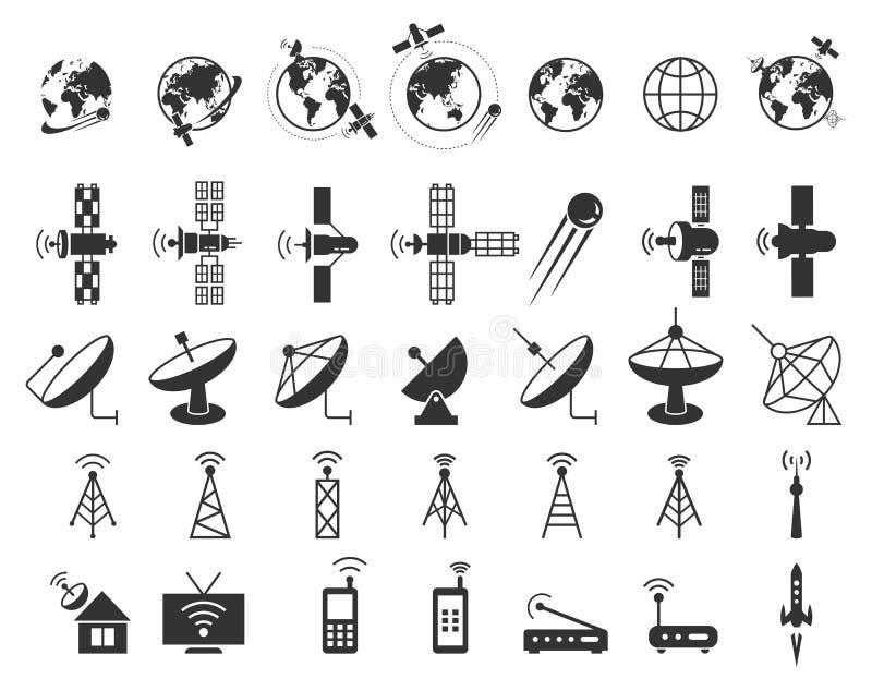 Satelitarne ikony wektorowe ilustracji