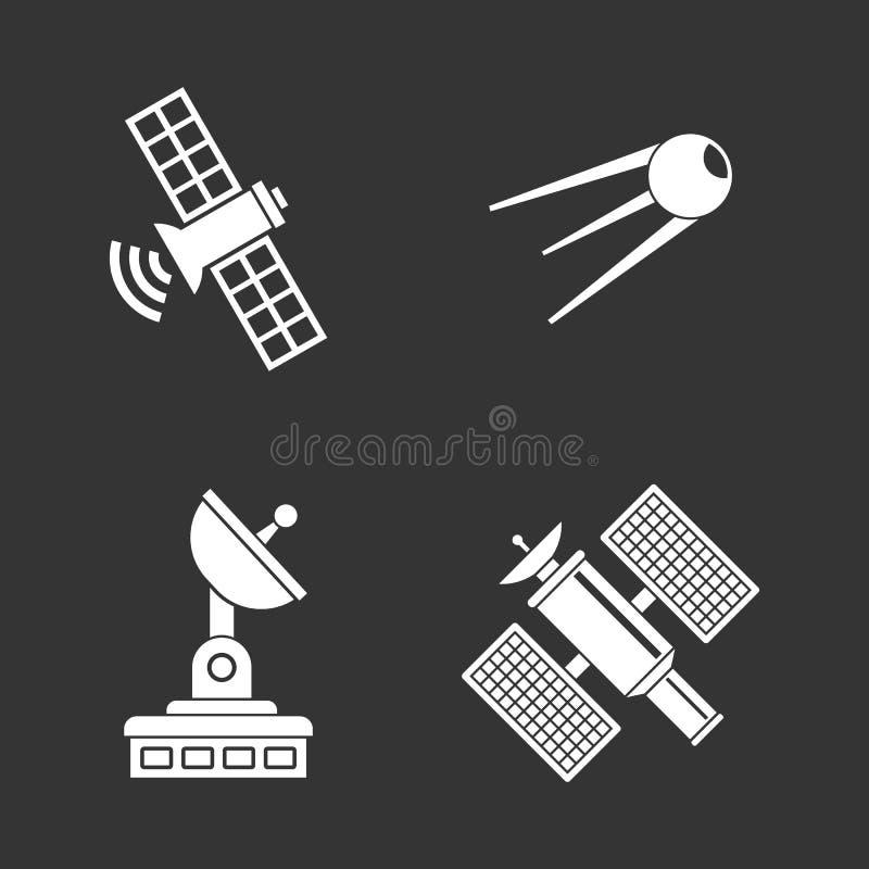 Satelitarnego ikona setu popielaty wektor ilustracji