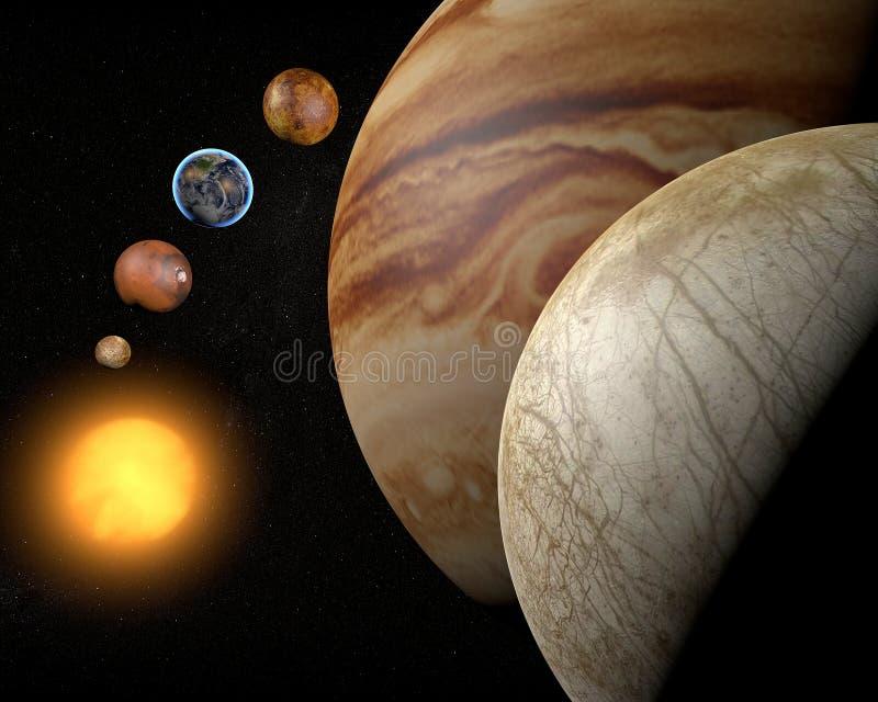 Satelitarny Europa, Jupiter księżyc royalty ilustracja