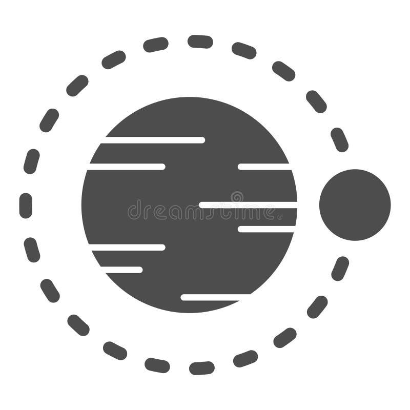 Satelitarny latanie nad planety bryły ikona Kosmos wektorowa ilustracja odizolowywająca na bielu Astronomia glifu stylu projekt royalty ilustracja