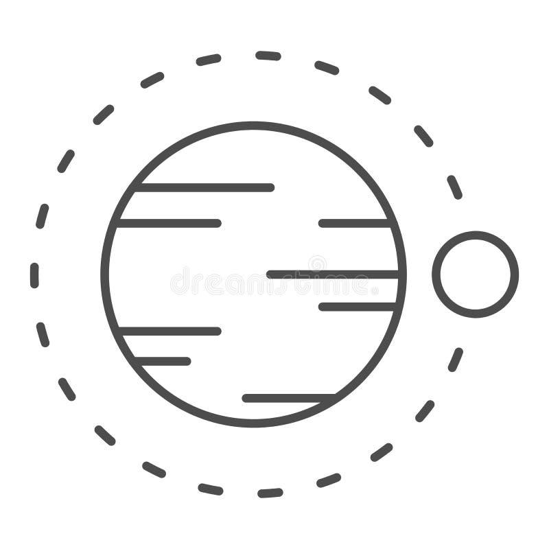 Satelitarny latanie nad planety cienka kreskowa ikona Kosmos wektorowa ilustracja odizolowywająca na bielu Astronomia konturu sty ilustracja wektor