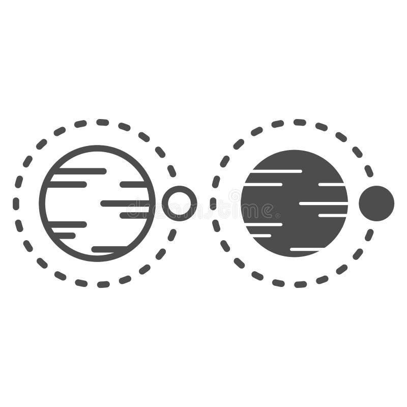 Satelitarny latanie nad planety linia i glif ikona Kosmos wektorowa ilustracja odizolowywająca na bielu Astronomia konturu styl ilustracja wektor