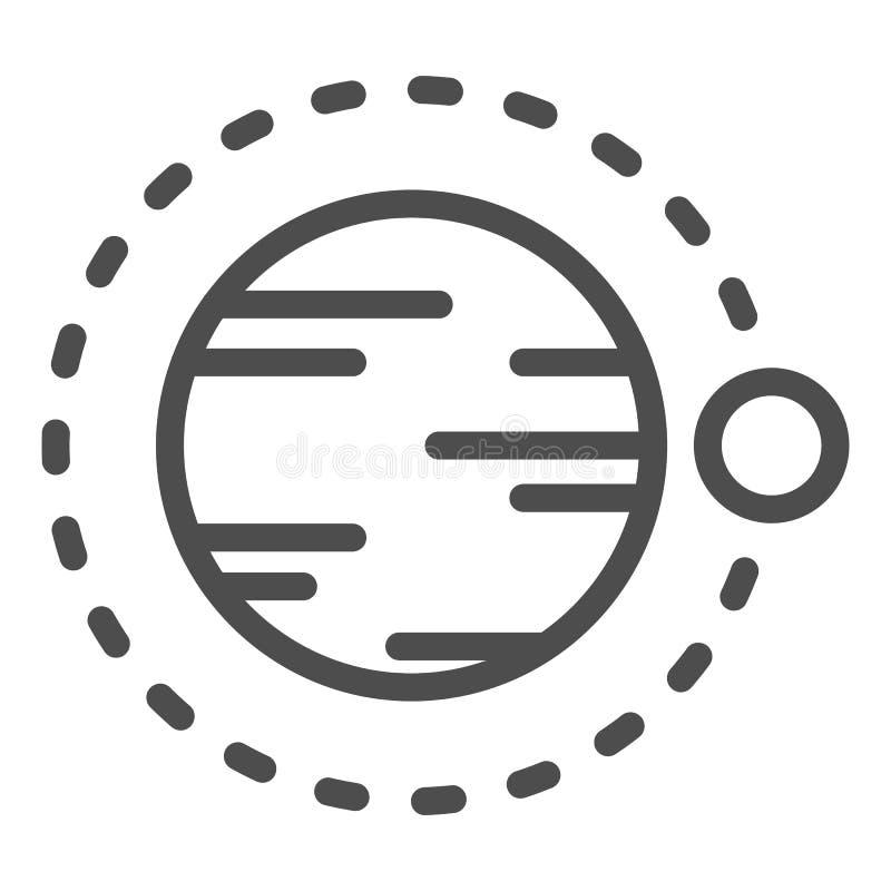Satelitarny latanie nad planety linii ikona Kosmos wektorowa ilustracja odizolowywająca na bielu Astronomia konturu stylu projekt royalty ilustracja