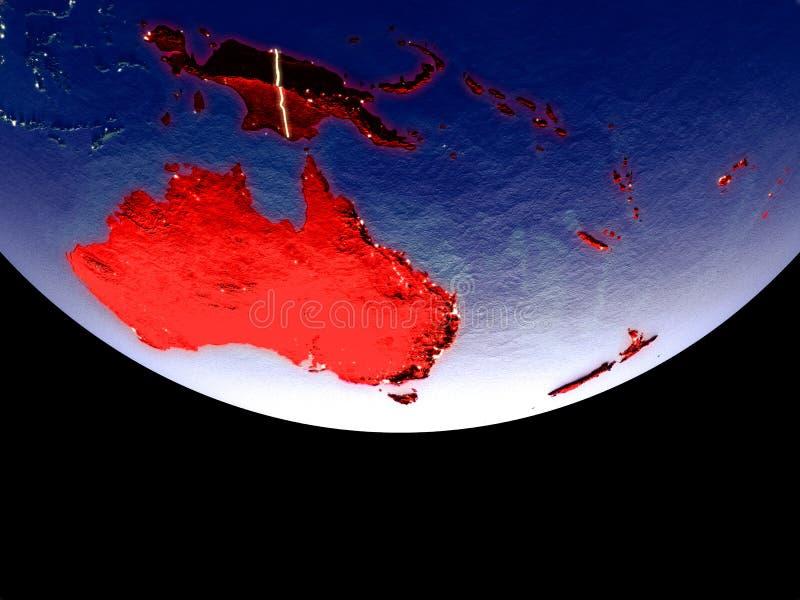 Satelitarny widok Australia od przestrzeni przy nocą Pięknie szczegółowa plastikowa planety powierzchnia z widocznym miastem zaśw ilustracja wektor