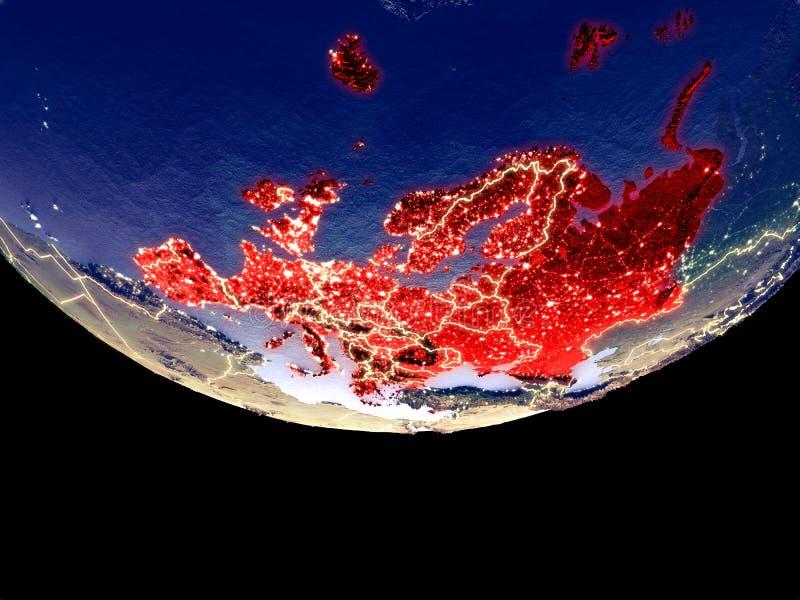Satelitarny widok Europa od przestrzeni przy nocą Pięknie szczegółowa plastikowa planety powierzchnia z widocznym miastem zaświec ilustracji