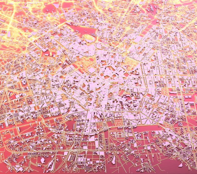 Satelitarny widok Mediolan, mapa, 3d budynki, 3d rendering Ulicy i drapacz chmur Mediolan, Lombardy, Włochy royalty ilustracja