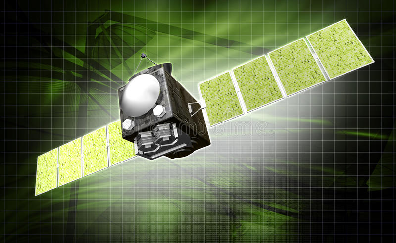 Satelite. Digital illustration of a satelite in digital background stock illustration