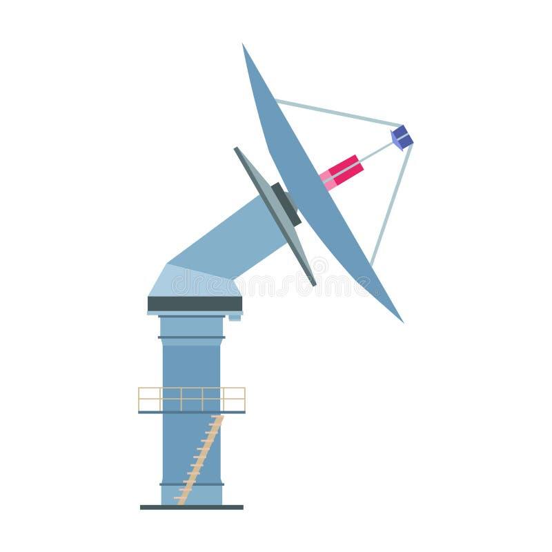 Satelite dish vector icon antenna radar illustration. Radio comm royalty free illustration