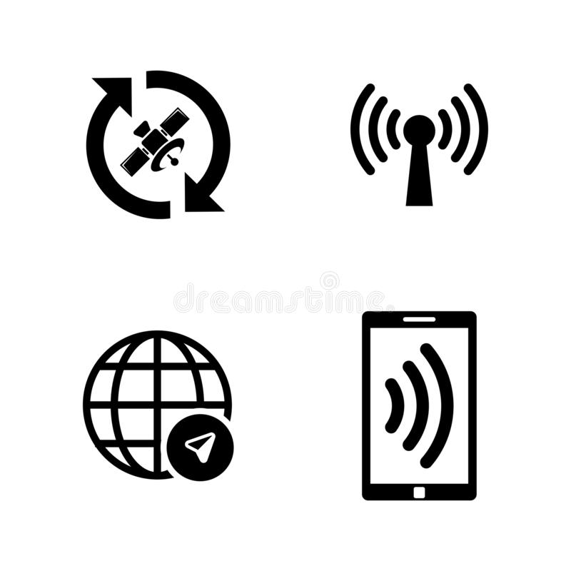 Satelite Navigation, Connection. Simple Related Vector Icons stock illustration