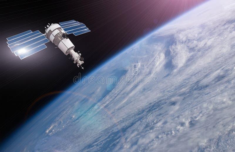 Satelitte ?ber der Erde macht Ma?e von den Wetterparametern Überwachung der Spurhaltung in einer Sturmzone, Wirbelsturm elemente lizenzfreie stockfotos
