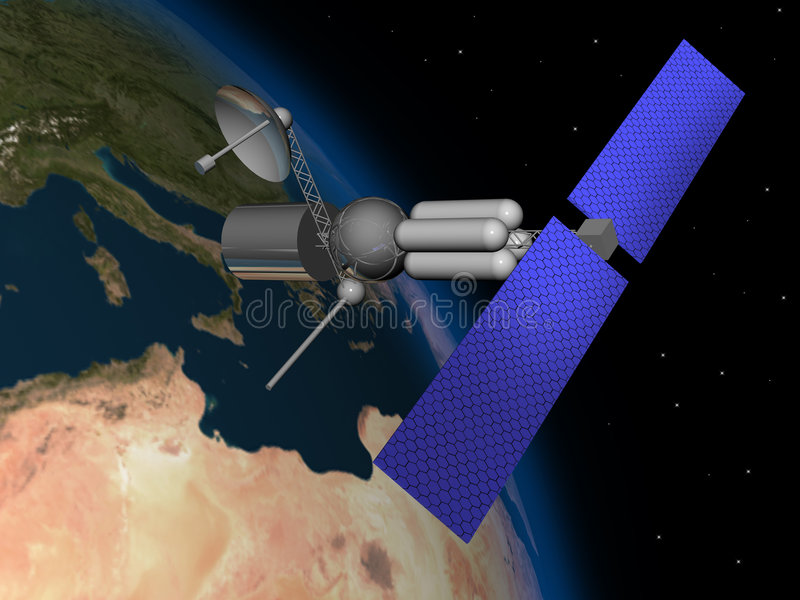 Satelliet royalty-vrije illustratie