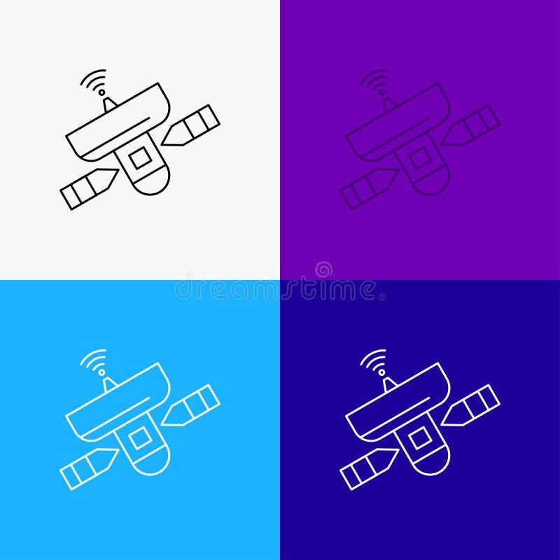 satelliet, antenne, radar, ruimte, Signaalpictogram over Diverse Achtergrond r EPS 10 vector stock illustratie