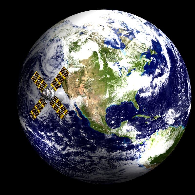 Satelliet in Baan - de V.S. royalty-vrije illustratie