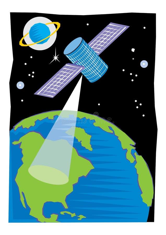 Satelliet in baan rond de aarde of de maan of een andere planeet informatie te verzamelen of voor mededeling wordt geplaatst die vector illustratie