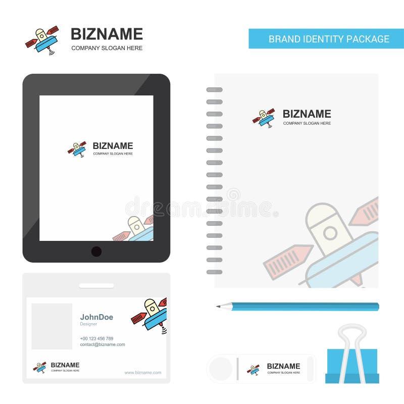 Satelliet Bedrijfsembleem, Tab App, de Werknemerskaart van Agendapvc en USB-het Ontwerp Vectormalplaatje van het Merk Stationair  royalty-vrije illustratie