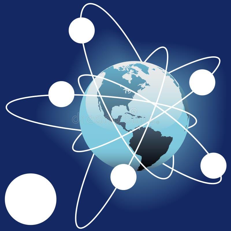 Satelliet buiten het exemplaarruimte van de Aarde van de ruimtenbaan royalty-vrije illustratie