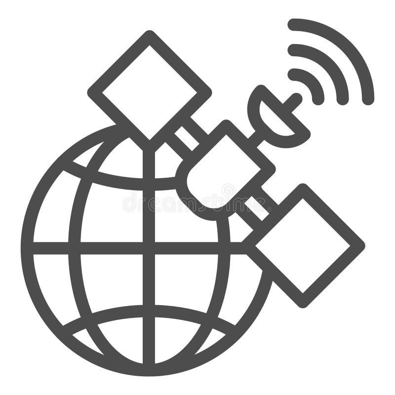 Satelliet de lijnpictogram van GPS Globale signaal vectordieillustratie op wit wordt ge?soleerd Van de communicatie het ontwerp o royalty-vrije illustratie