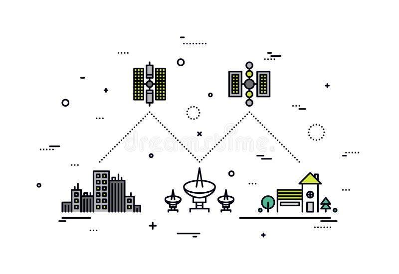 Satelliet de stijlillustratie van de netwerklijn royalty-vrije illustratie