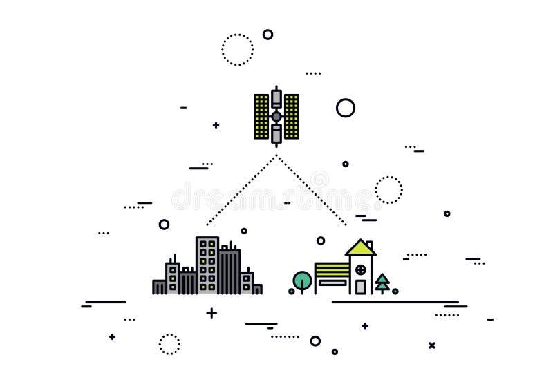 Satelliet de stijlillustratie van de netwerklijn vector illustratie