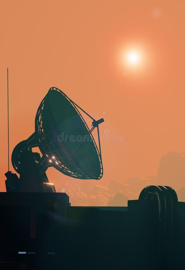 Satelliet dichte omhooggaand van de antenneschotel vector illustratie