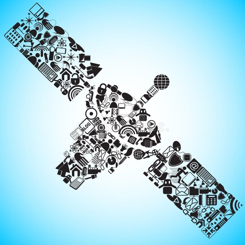 Satelliet die van Media en Communicatie pictogram wordt gemaakt royalty-vrije illustratie
