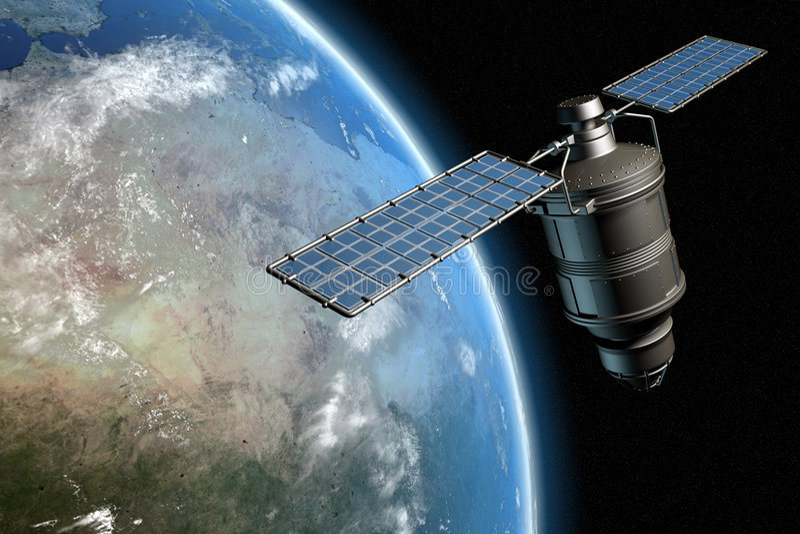 Satelliet en aarde 14 royalty-vrije illustratie