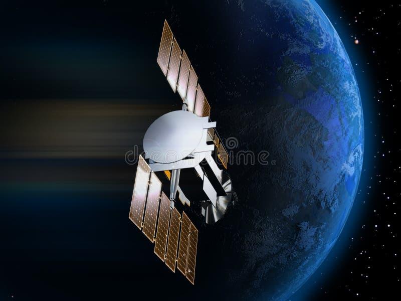 Satelliet en Aarde 3 vector illustratie
