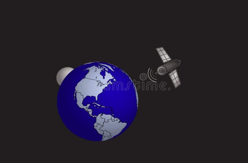 Satelliet en wereld stock illustratie