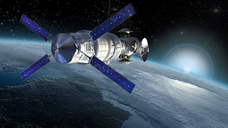 Satelliet het onderzoeken Aarde stock afbeelding