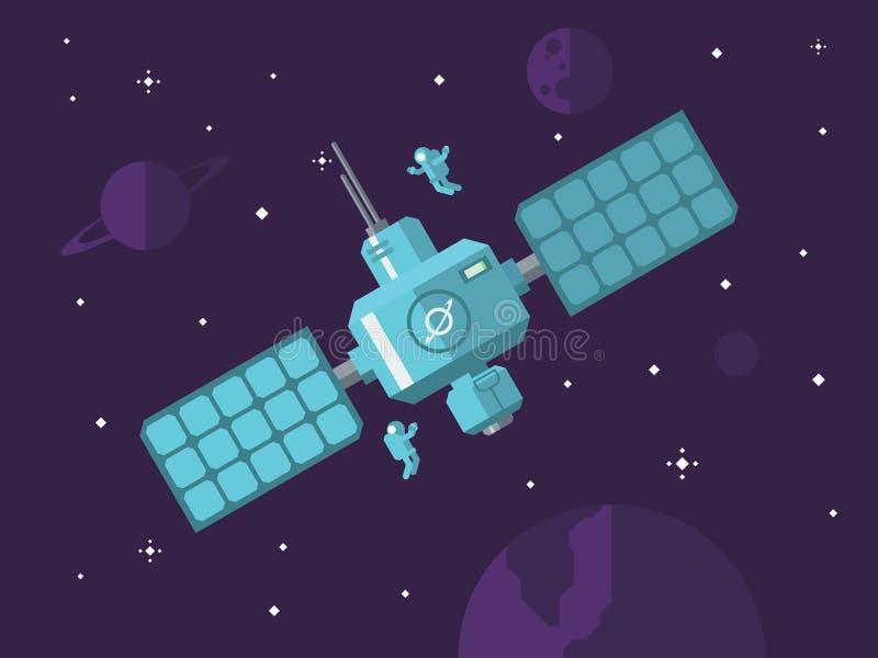 Satelliet met Astronauten in Kosmische ruimte stock illustratie