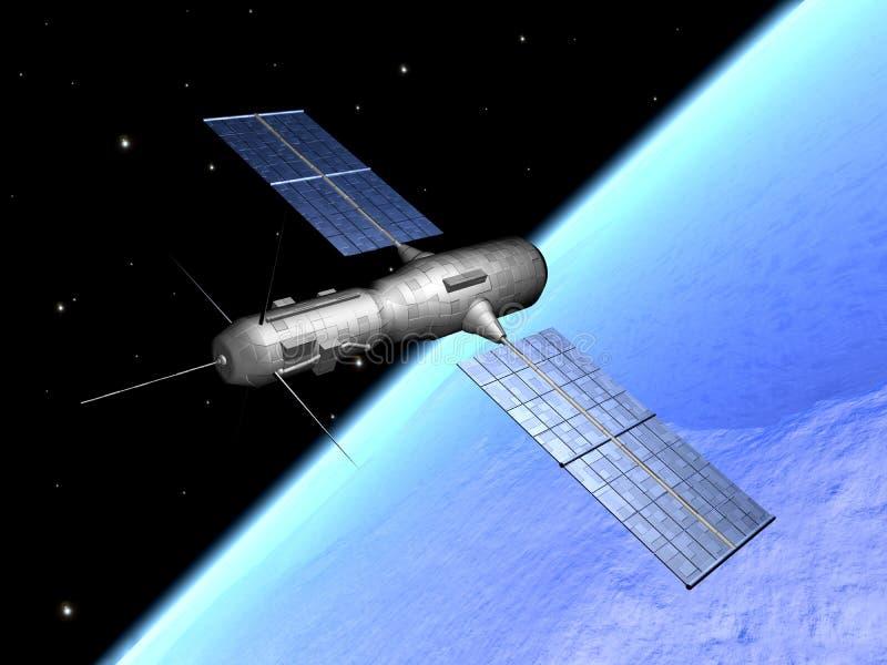 Satelliet over aarde 1 royalty-vrije illustratie
