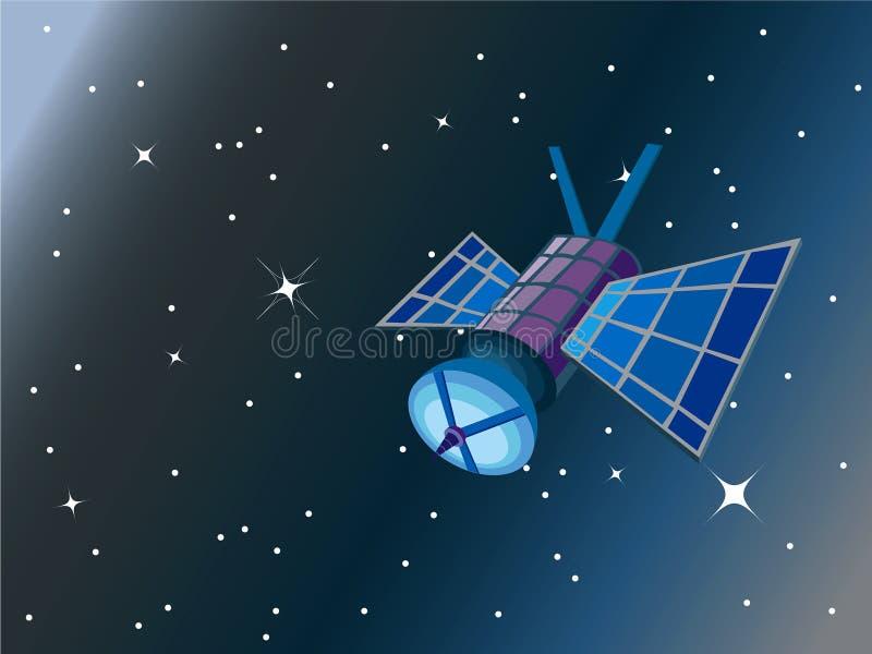 Satelliet in ruimte stock illustratie