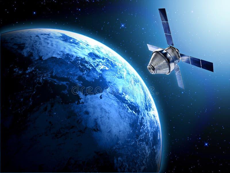 Satelliet in ruimte royalty-vrije illustratie
