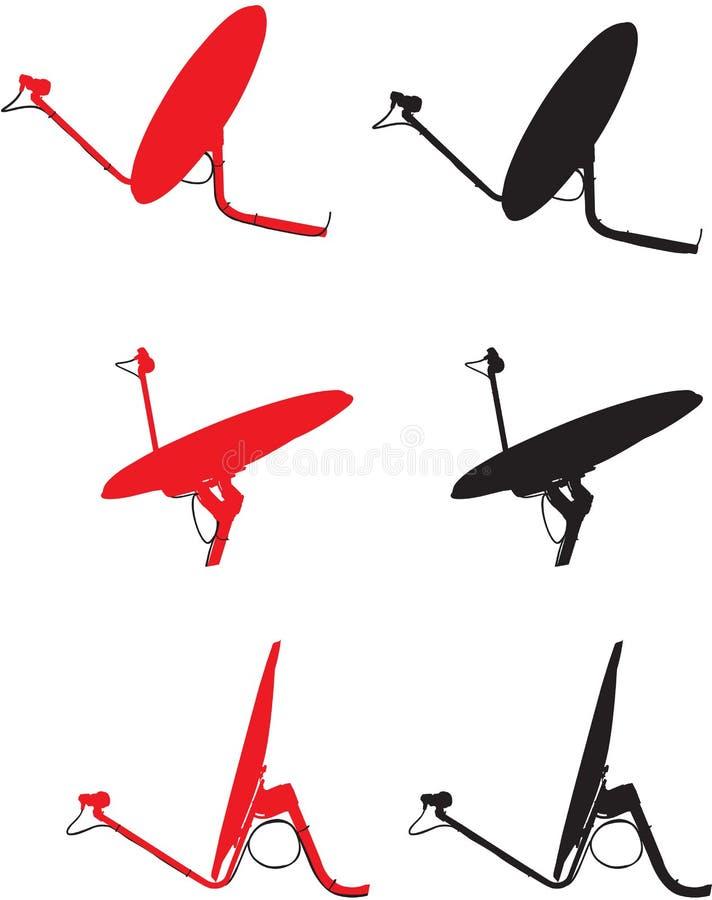 Satelliet schotels vector illustratie
