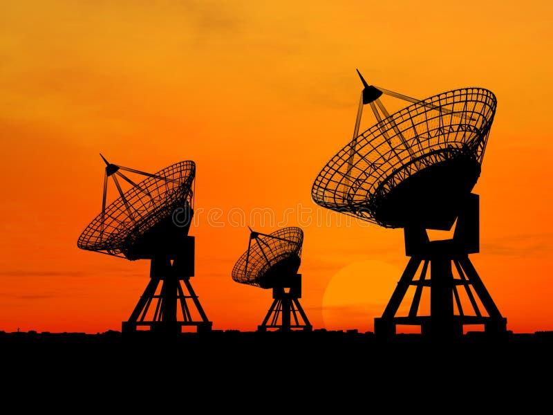 Satelliet Schotels stock afbeelding