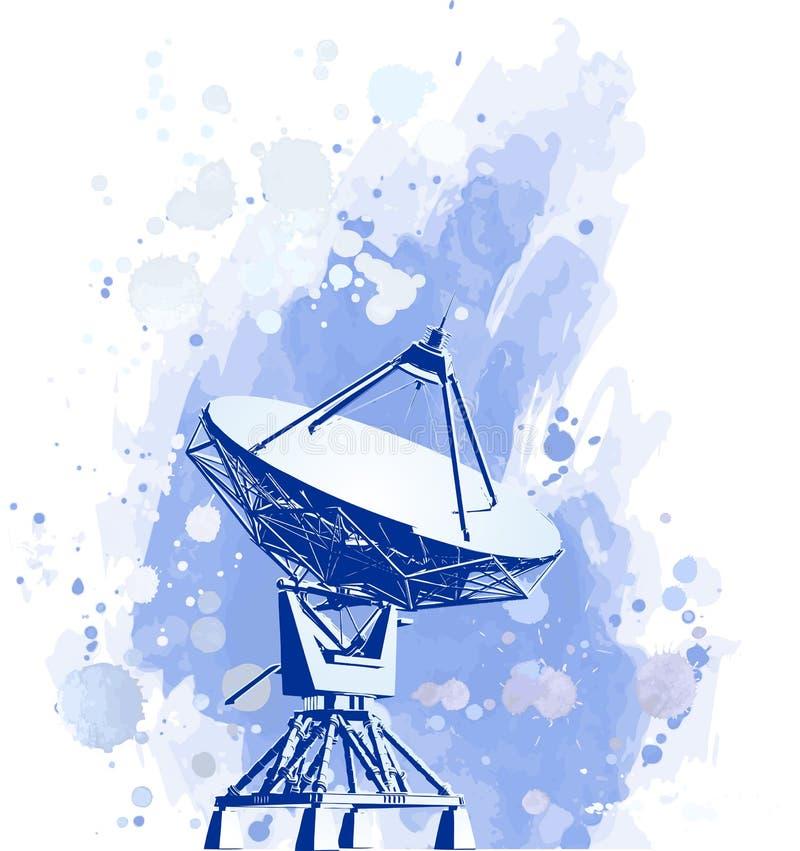 Satelliet schotelsradar royalty-vrije illustratie