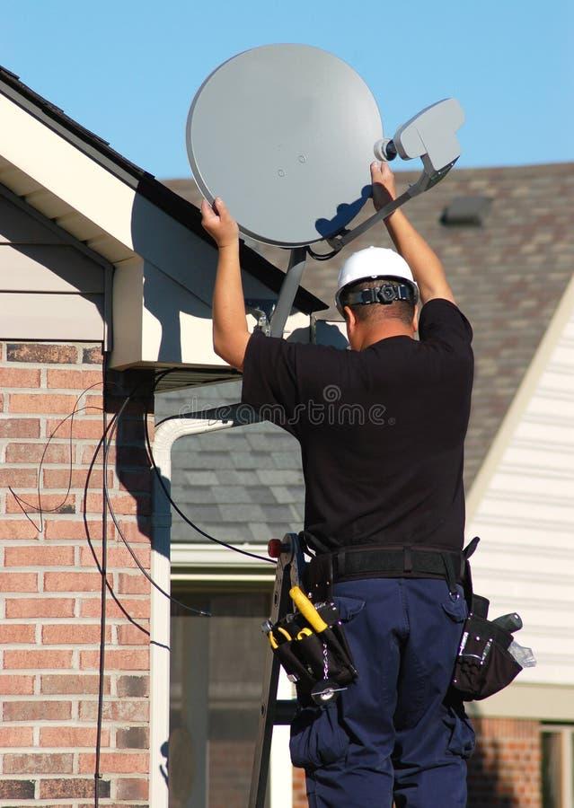Satelliet Technicus stock afbeeldingen