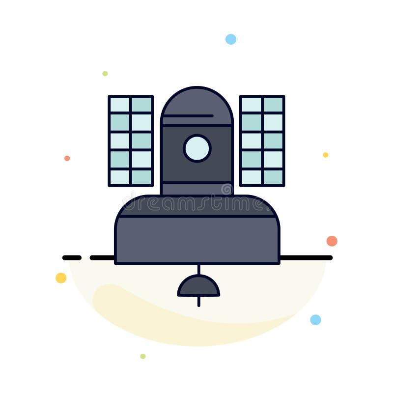 Satelliet, uitzending, het uitzenden, mededeling, het Pictogramvector van de telecommunicatie Vlakke Kleur royalty-vrije illustratie