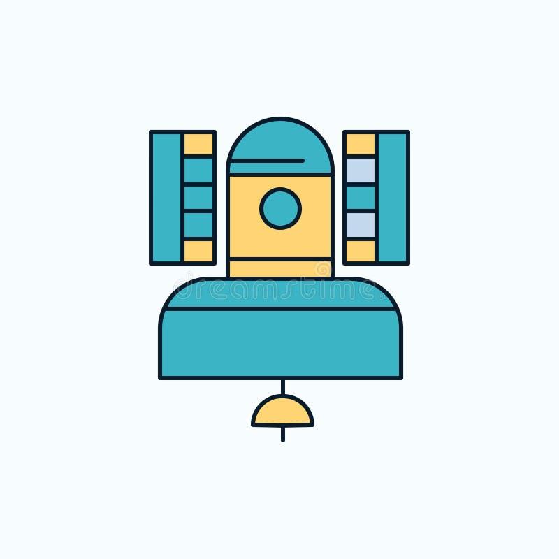 Satelliet, uitzending, het uitzenden, mededeling, telecommunicatie Vlak Pictogram groene en Gele teken en symbolen voor website e vector illustratie