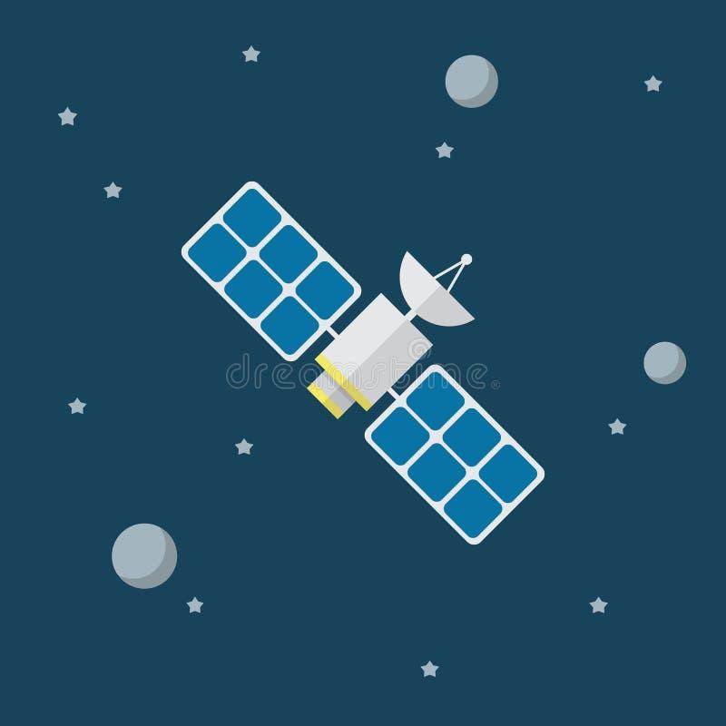 Satelliet vectorpictogram in vlakke stijl royalty-vrije illustratie