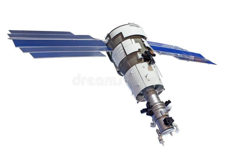 Satelliet voor aardoppervlak sonderen geïsoleerd op witte achtergrond royalty-vrije stock afbeeldingen